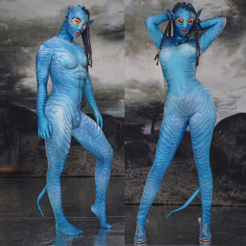 Stretch Jumpsuit Nachtclub Bar Cosplay Kostuums Halloween Party Rollenspel Sexy Dansvoorstelling Bodysuit Podium Outfit DQS3240