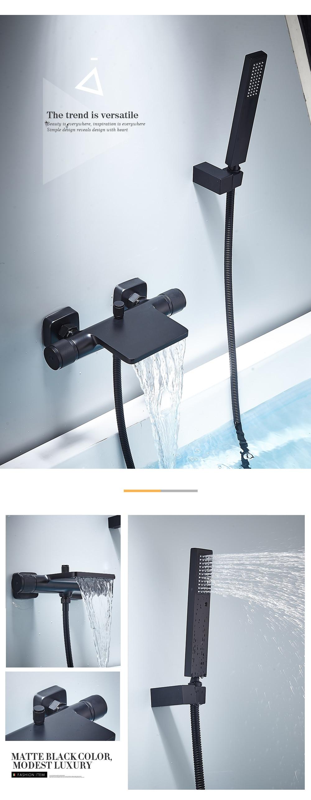Hdc6bbf7da6d24e5e916ceb2b8a58765aa Bathtub Shower Faucet Mixer Solid Brass Black Wall Mount Shower Faucet With Hand Shower Bathroom Waterfall Bathub Faucet WB1620