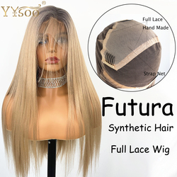 YYsoo Lange Ombre Synthetische Full Lace Pruiken Silky Straight Lijmloze Blonde Pruik Voor Vrouwen Futula Volledige Hand Gebonden Pruik Donker wortels