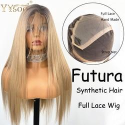 YYsoo largo degradado sintético completo pelucas de encaje sedoso lacio sin pegamento peluca rubia para mujeres Futula peluca atada a mano raíces oscuras