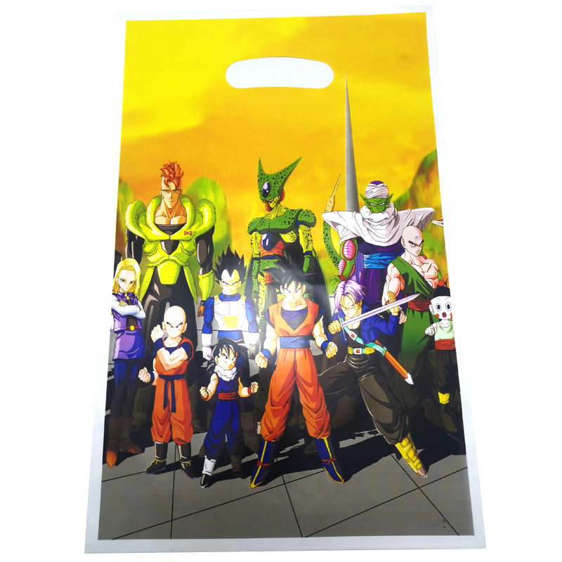 20pcs/pack Dragon Ball Theme Birthday Party Kids Boys Favors Decorate Food Grade Plastic Loot Bags Baby Shower Party Gifts Bags
