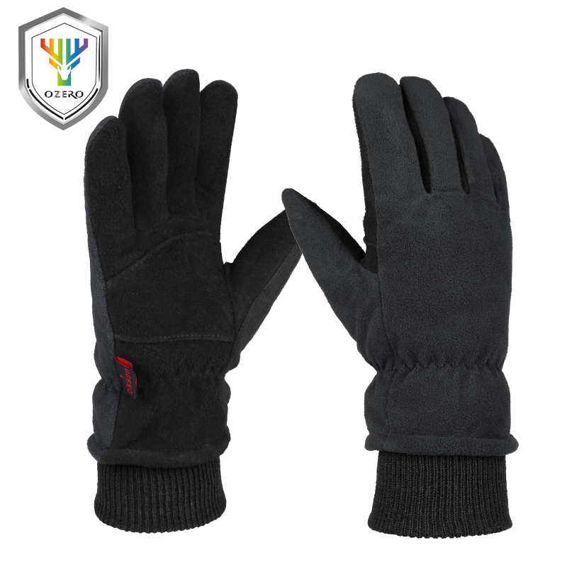 OZERO Зимние перчатки-30 °F Холодостойкие оленья кожа; Замша кожаные перчатки водонепроницаемые ветрозащитные утепленные для вождения автомобиля и велоспорта в оправе из Пеший Туризм