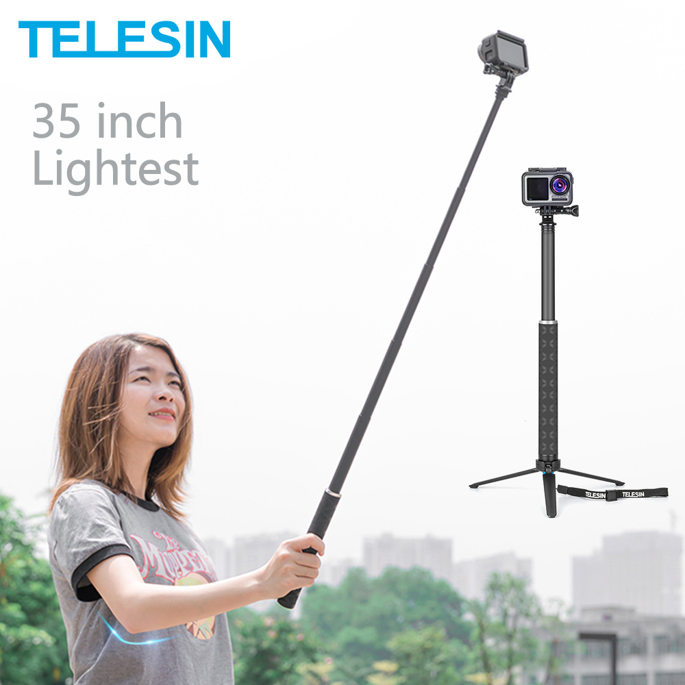 TELESIN 35inch Carbon Fiber Lightest Selfie Stick + Aluminium Alloy Tripod For GoPro Hero 5 6 7 8 For Osmo Action Camera Acc