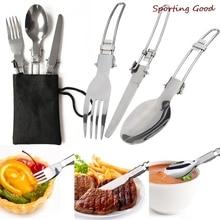 Outdoor Tableware Knife-Fork Spoon Camping-Set Picnic Utensil Ultra-Light Bag Alloy 3pcs