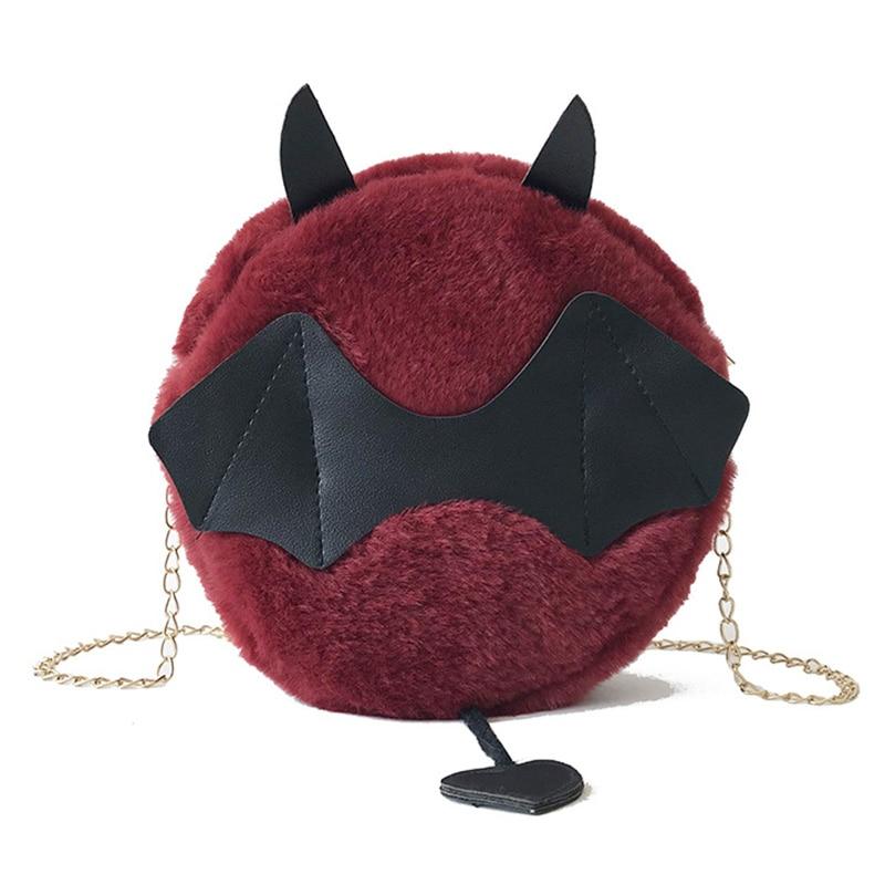 Girls Women Fashion Casual Hairy Small Round Bag Cute Demon Chain Shoulder Diagonal Package Bag New Arrival