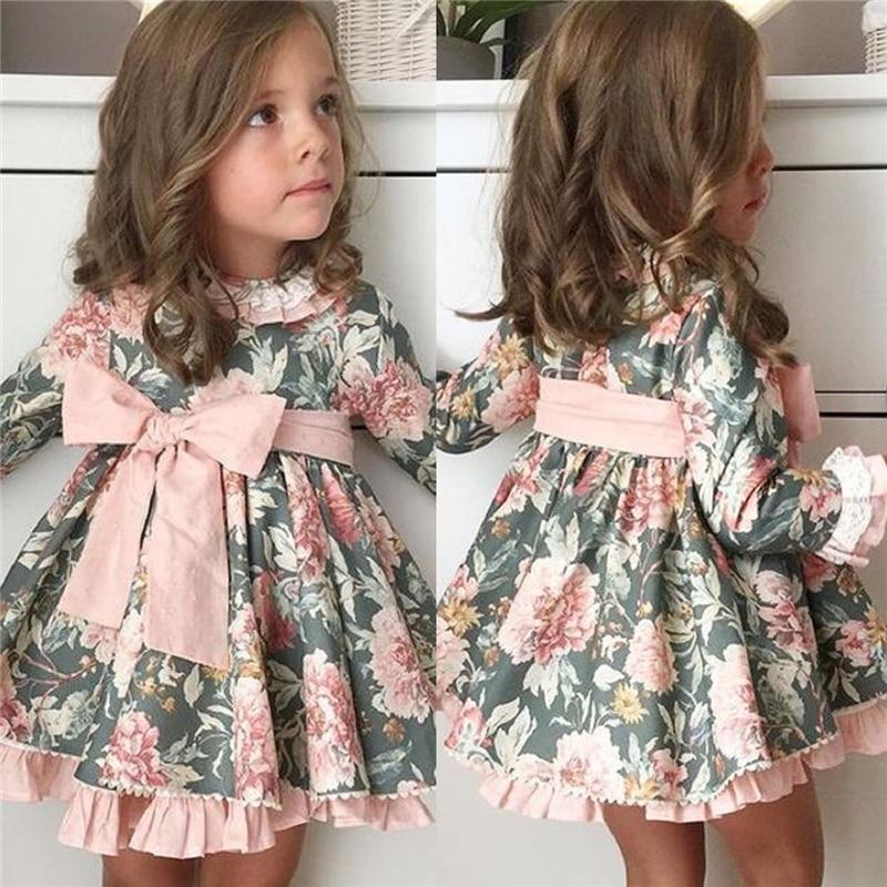 Весенне-осеннее детское платье с цветочным рисунком для малышей вечерние платья-пачки принцессы с длинными рукавами и бантом для девочек н...