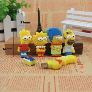 Image 3 - De silicona modelo Bart Simpson familia 128MB GB 32GB 64GB de memoria PenDrive USB U disco Pen Drive con dibujo animado USB Flash Drive lindo regalo