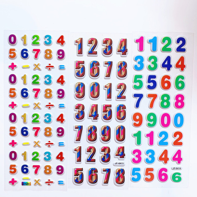 6 Sheets Kids Stickers 3D Puffy Bulk Cartoon English Alphabet Letters Number Stickers Educational Toys for Girl Boy GYH