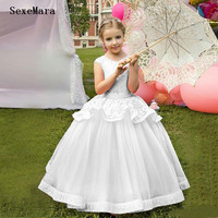 Princess Dress Puffy Tulle White Lace Flower Girl Dress with Belt Zipper Back Birthday Dresse Kids Pageant Gowns Longo