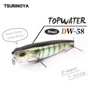 TSURINOYA Fishing Lure DW58 Top water Pencil 110mm 20.5g Z-Shaped Floating Pencil Articial bait Bass bait Snakehead Lure(China)