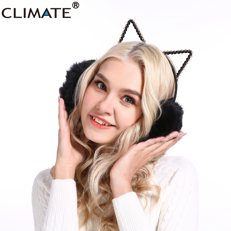 CLIMATE Women Girl Car Ear Earmuffs Lovely Cat Ear Muff Warmer Rhinestone Lovely Warm Ear Muffs For Kids Women Teenager Girls