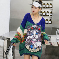 Thailand street brand age old V neck cartoon patch heavy work beaded thin sweater women early autumn loose net red sweater