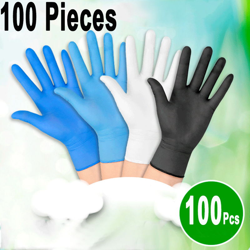 Rubber Kitchen 100Pcs Nitrile Exam Gloves,Disposable Gloves Polyvinyl Chloride Disposable Protective Gloves,Universal Medical Garden,Gloves Dishwashing