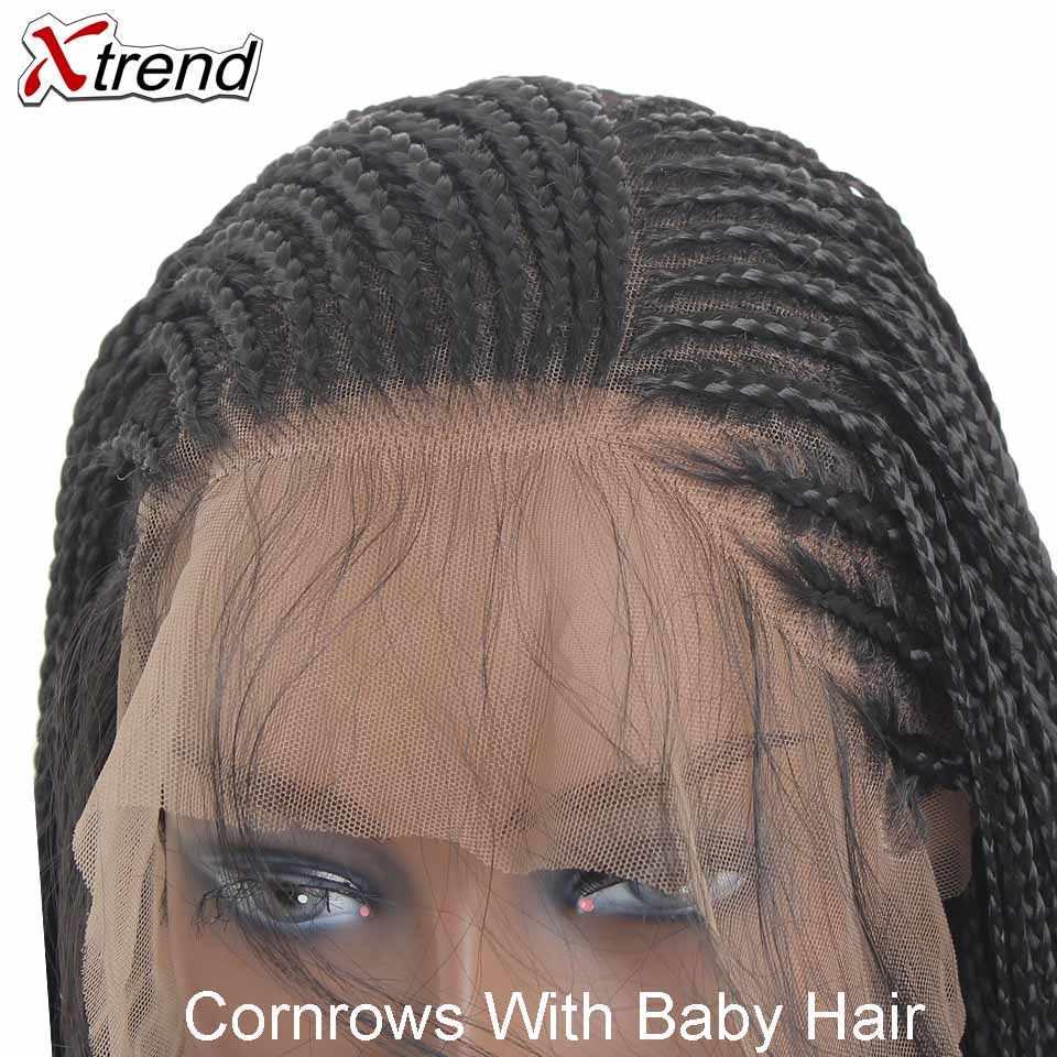 Xtrend Gevlochten Doos Vlechten Pruiken Synthetische Lace Front Pruik Voor Zwarte Vrouwen Cornrows Met Baby Haar 13X6 Kant deel 24 Inch