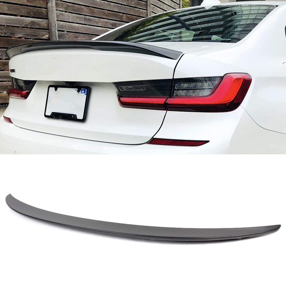 Canbon Fiber Style Car Rear Tail Trunk Lip Spoiler Wing Trim For BMW 3 series G20 330i M340i 2020 2021 ABS image