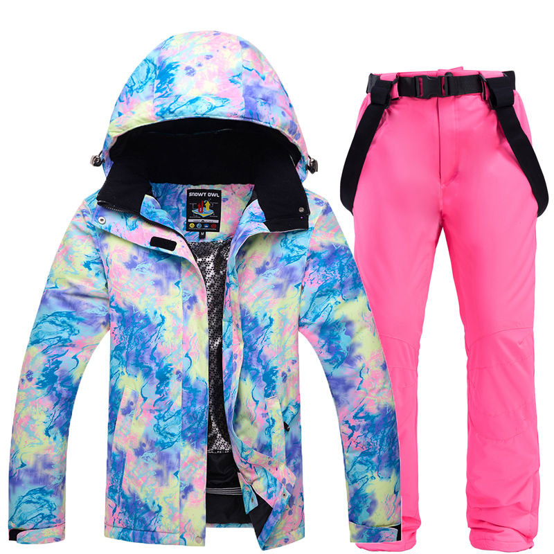 Shining colorful Cheap Women's Ski Suit Wear snowboarding suit waterproof windproof breathable outdoor Snow jacket and pant