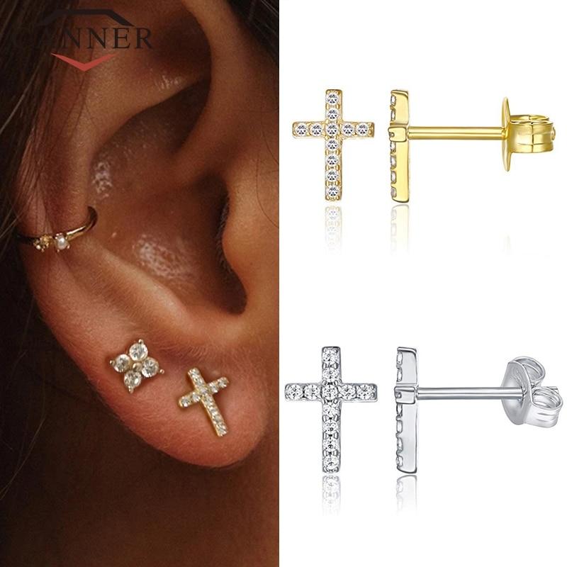 Minimalist 925 Sterling Silver CZ Zircon Stud Earrings For Women Simple Geometric Cross Gold Silver Earrings Fashion Jewelry