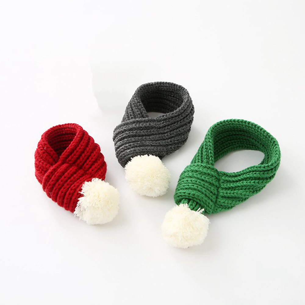 Pet Fashion Christmas Knit Scarf Cat Dog Scarf Accessories Winter Warm Pet Supplies Red Gray Green Qianyi
