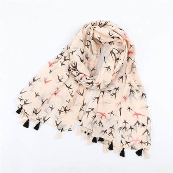 2020 spring and autumn new Japanese sweet white print swallow cotton linen scarf art small fresh shawl women