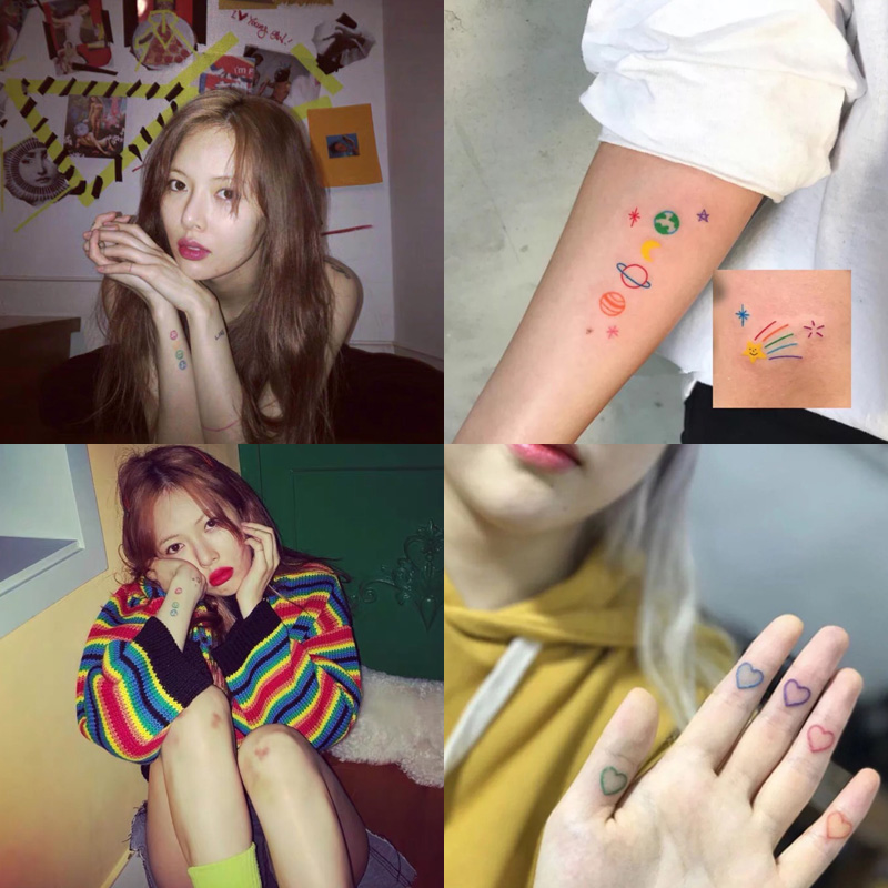 HZ Korea Chic Tatoo Sticker Painless Ins Hot Sweet Cute Colorful Waterproof Design Skin Decals For Women Girls Party Jewelry