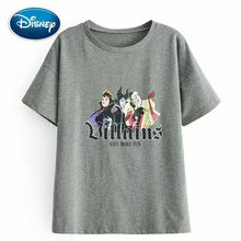 Disney Stylish Schneewittchen Queen Witch Letter Cartoon Print Casual T-Shirt O-Neck Pullover Short Sleeve Women Gray Tee Tops(China)