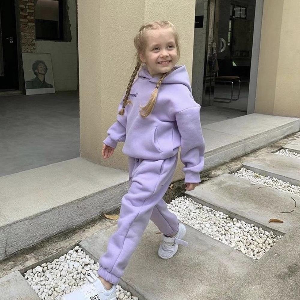 Solide Baby Hoodies Track Pant Kinder Mit Kapuze Sweatshirts Zwei Stück Sets Kinder Kleidung 100% Baumwolle Warme Herbst Winter