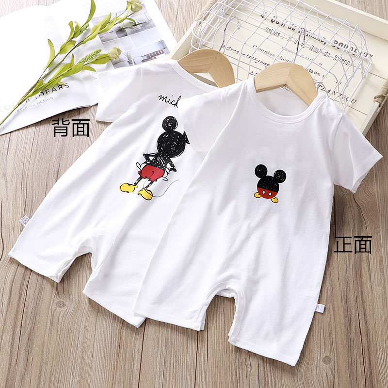 Fashion Mickey Baby Rompers Summer Short Sleeve Baby Climbing Clothes Cotton Jumpsuit Newborn Baby Boys Girls Clothes Pajama