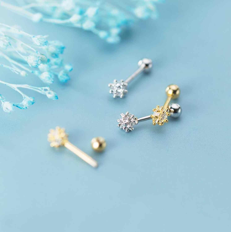 925 пробы серебряные ювелирные изделия цветок CZ Винт Назад хрящевая спираль одиночные серьги A1928
