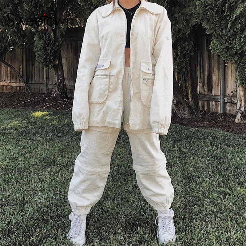 Sweetown 2019 Casual Fashion Corduroy Streetwear Pants White Solid Pockets Baggy Pants Women Hip Hop High Waist Trousers Autumn