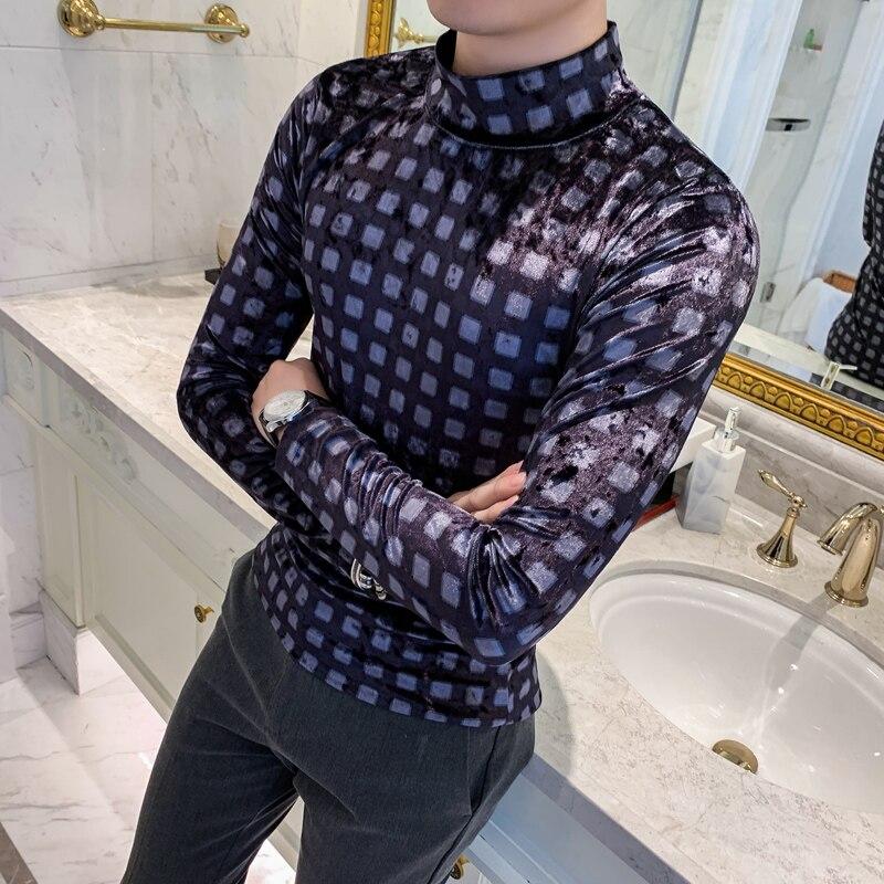 Фланелевые футболки мужские клетчатые пуловеры с высоким воротом мужские бархатные футболки 2019 Осенняя стильная футболка с длинными рукав