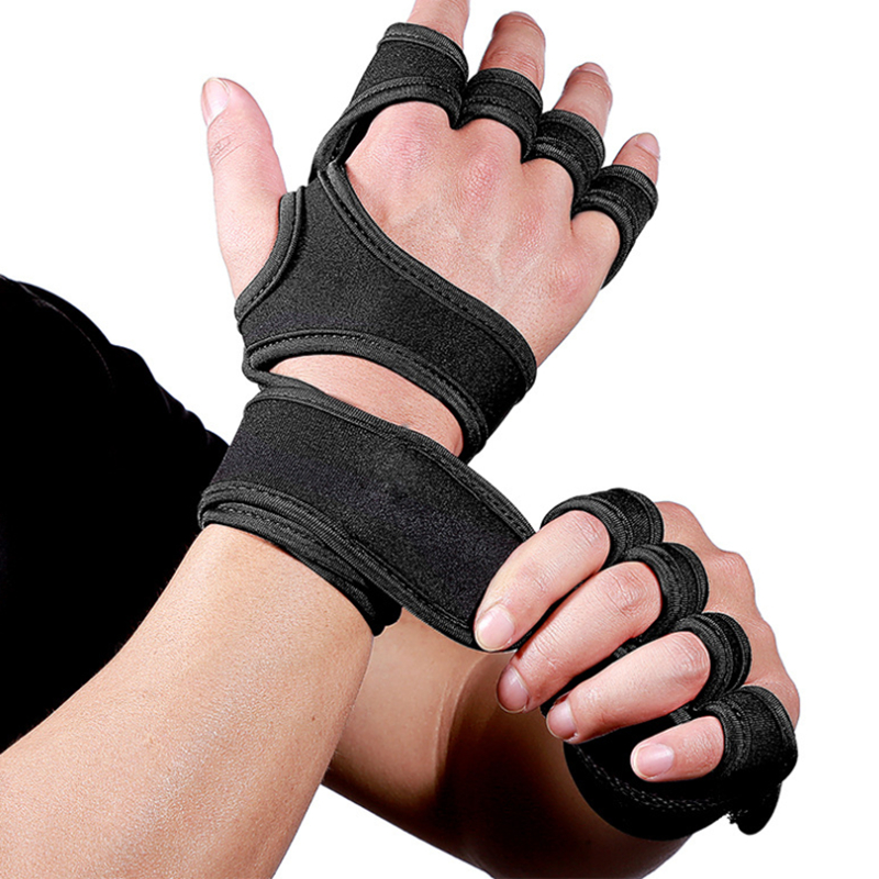1 Pair Gym Fitness Gloves Hand Palm Protector With Wrist Wrap Support Crossfit Workout Bodybuilding Power Weight Lifting