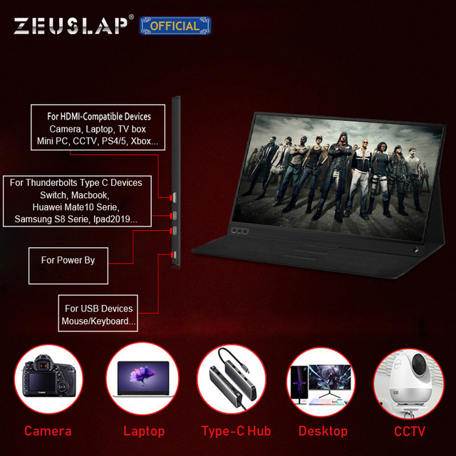 Ultrathin 15.6inch narrow border screen 1080p ips ps3 ps4 switch gaming portable monitor hdr 5