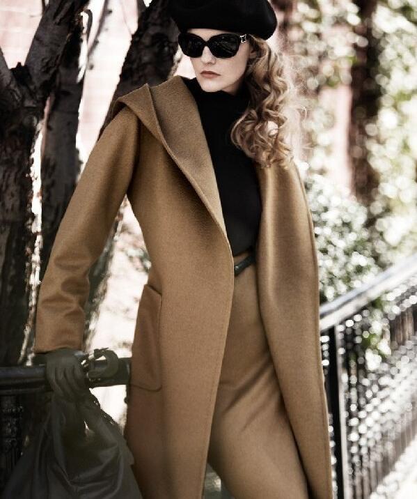 Женская зимняя Водолазка с длинным рукавом, Длинная накидка в английском стиле, винтажное шерстяное пальто, свободная Высокая уличная Роскошная зимняя накидка - Цвет: camel color