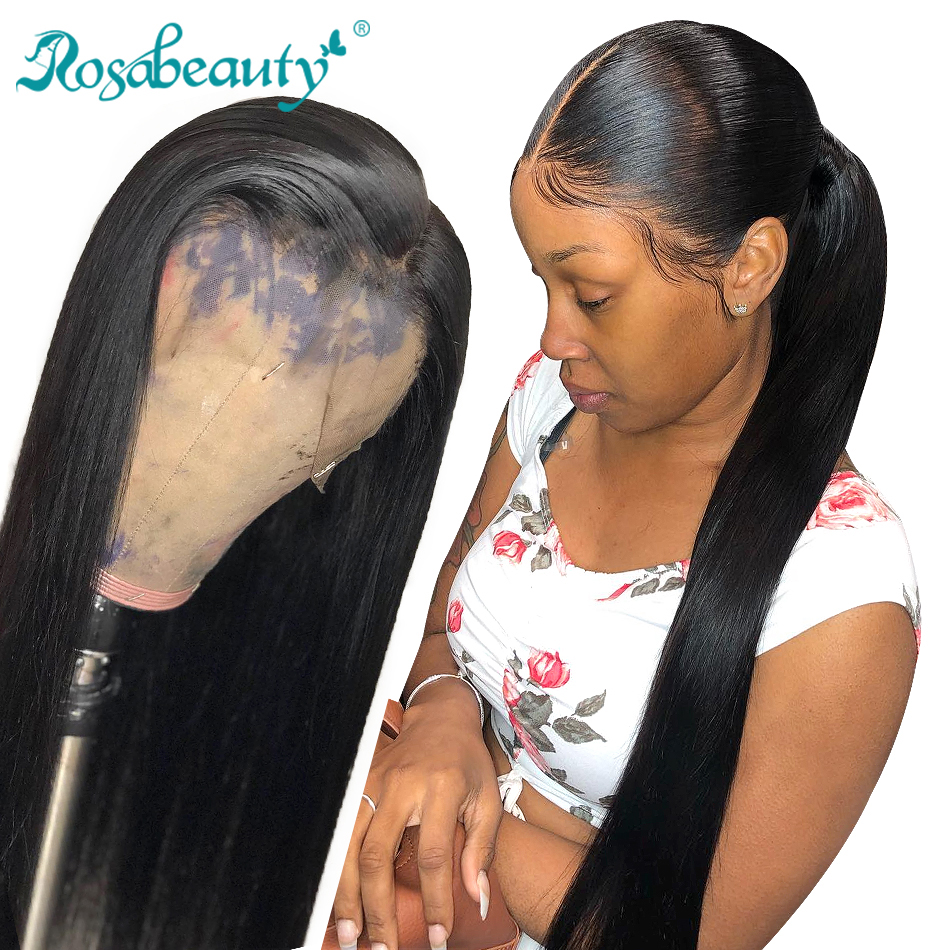 Rosabeauty 28 30 Inch Long 360 Lace Frontal Wig Pre Plucked With Baby Hair Brazilian Straight 13x6 Lace Front Human Hair Wigs