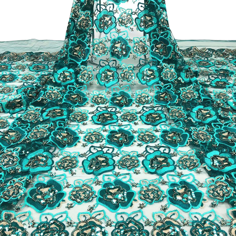 Latest African Lace Fabric Pretty Flower Pattern Embroidered With Sequins Top Quality Tulle Lace For Noble Lady Dress 5 Yards