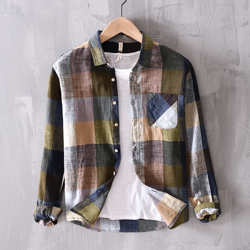 New Designer Brand Plaid Shirt Men Spring Cotton Shirts For Men Long-sleeved Mixed Color Men Shirts Linen Breathable Clothes