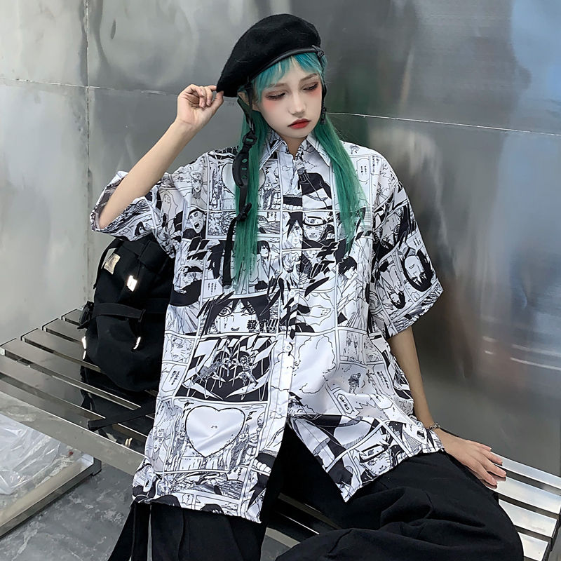 NiceMix Women blouse short Sleeve pattern Print Loose Blouses Tops Female Shirt Hip hop Ladies Casual Button Blouse Streetwear