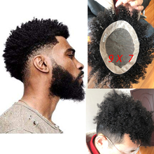 2021 New Hairstyle  Afro Curly Toupee Men Toupee Replacement Systems Black Curl Human Hair Toupee for Black Men 8''x6''Base