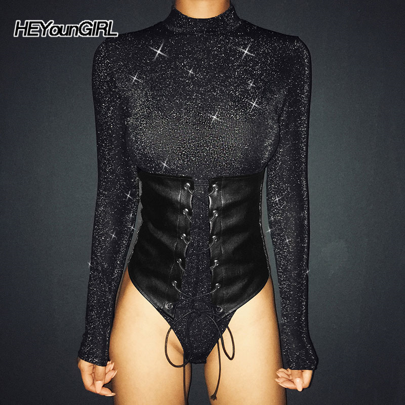 HEYounGIRL Harajuku Punk Glitter Bodysuit Woman Bodycon Long Sleeve Body Women Patchwork Leather Cummerbunds Jumpsuits Autumn