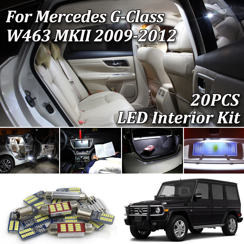 20Pcs White Canbus led Car interior lights Kit For Mercedes G Class W463 MKII <font><b>G55</b></font> <font><b>AMG</b></font> G500 (2009-2012) image
