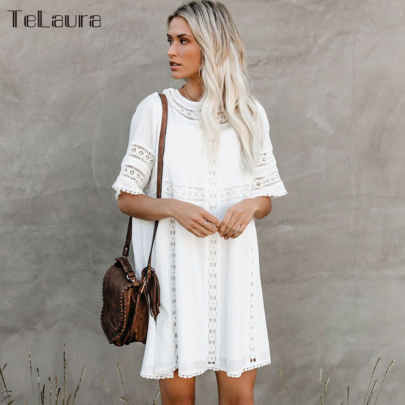 Swimsuit Beachwear Cover-Up Crochet White Women New Lace Hollow