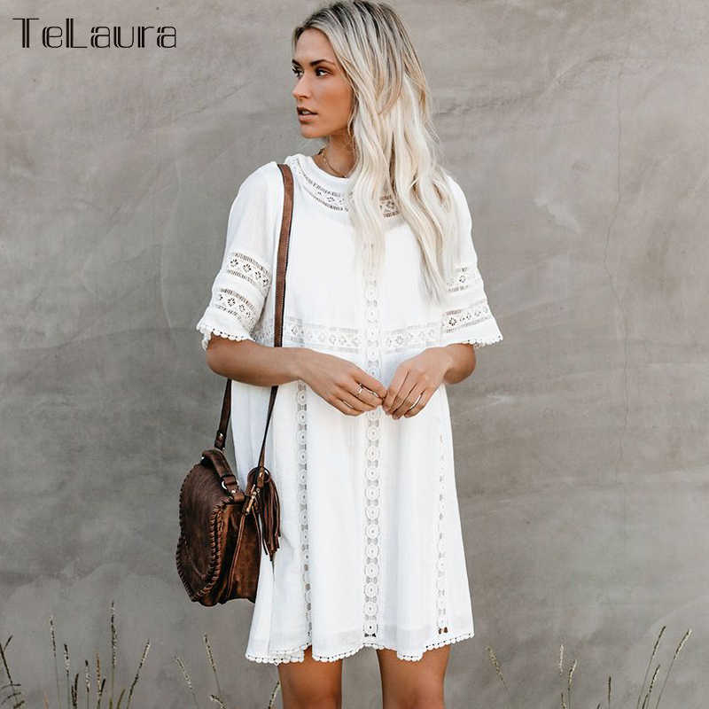 2019 New Sexy Praia Cover Up Swimsuit Lace White Beach Vestido Mulheres Oco Crochet Swimsuit Cover-Ups Maiô beachwear