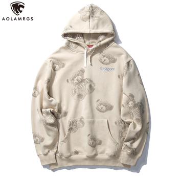 Aolamegs Hip Hop Hoodie Sweatshirt Bear Print Retro Streetwear Men Harajuku Loose Fashion Fleece Hoodies Hooded Pullover Autumn autumn cotton hoodies men s fashion solid color casual hooded sweatshirt men streetwear loose hip hop pullover hoodie men m 5xl