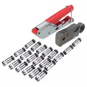 22 шт. универсальный набор компрессионных инструментов для зачистки F Bnc Rg6 Соединительный кабель коаксиальный обжим с красным гибким клеем