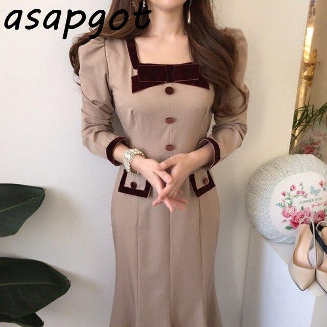 Chic Elegant Autumn Bow Hit Color Button Slim Fit Waist Patchwork Square Neck Mermaid Dress Fashion Vintage Vestido De Mujer 1