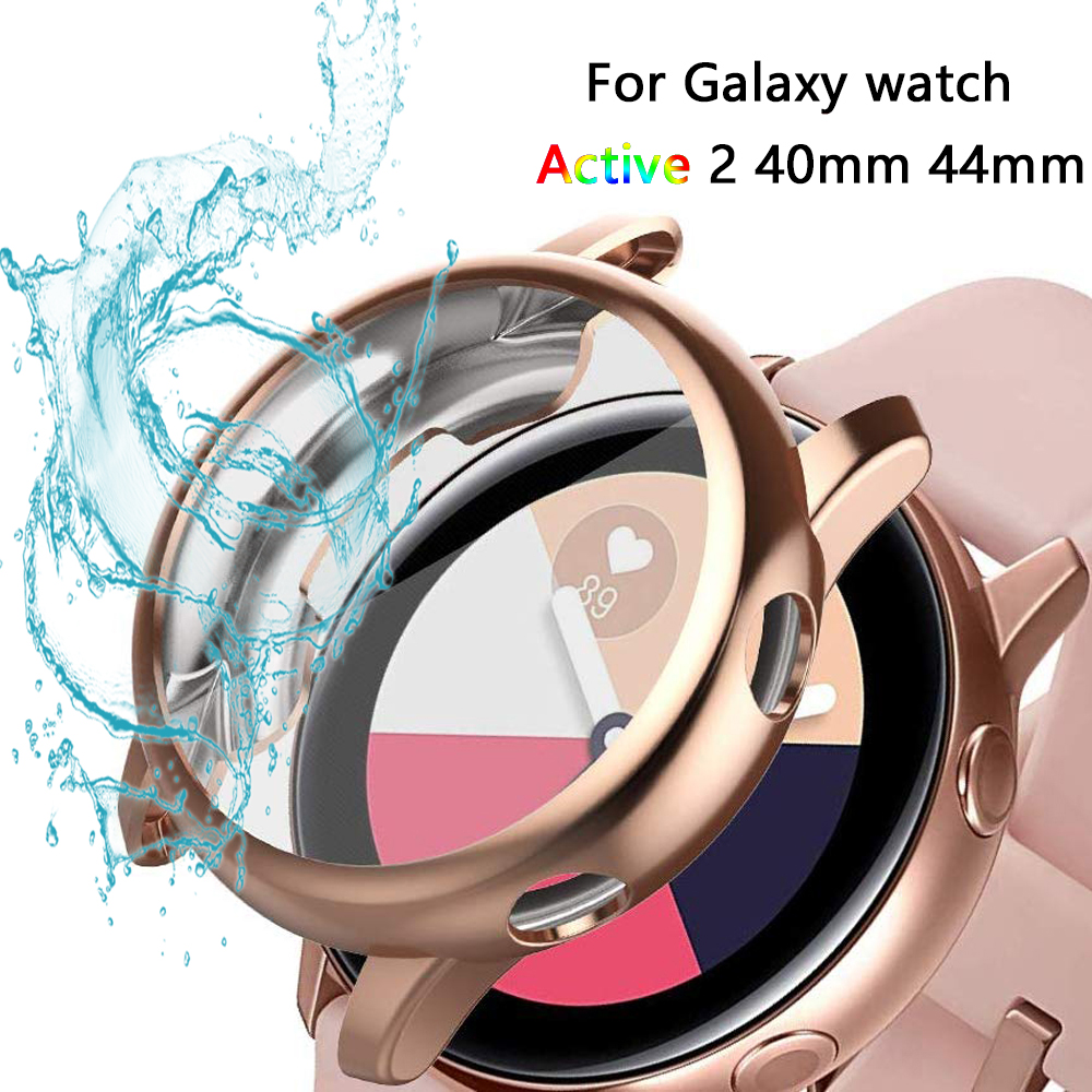 Galaxy Watch Case For Samsung Galaxy Watch Active 2 40mm 44mm Bumper Full Coverage Soft TPU Silicone Screen Protection Cover