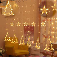 2.5M Led Christmas Tree /Sika deer/Star/LOVE icicle fairy string curtain lights for Wedding home garden party New Year's decor