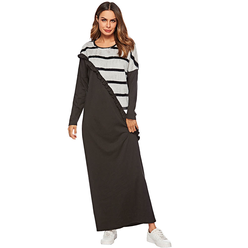 Muslim Abaya Dress Women Turkey Striped Ruffle Robe Jubah Elbise Islamic Clothing Dubai Arab Moroccan Kaftan Maxi Hijab Vestidos