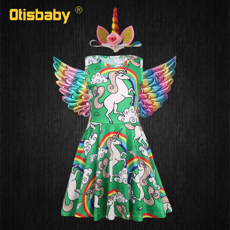 Ano novo Meninas Princesa Floral Partido Rainbow Unicorn Vestido Headwear Asas do Anjo Halloween Costume de Natal Criança Lol Vestido Da Menina