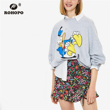 ROHOPO Round Collar Printed Cartoon Duck Pullover Cotton Hoodies Autumn Ladies Grey Chic  Top Sweatshirt #8164